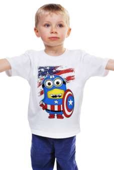 """Детская футболка """"CAPTAIN AMERICA - Капитан Америка"""" - арт, авторские майки, футболка, стиль, рисунок, в подарок, marvel, детская футболка, superhero, капитан америка"""