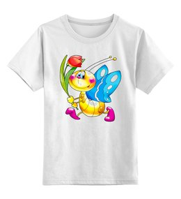 """Детская футболка классическая унисекс """"Бабочка с тюльпаном"""" - приколы, авторские майки, футболка мужская"""