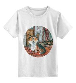 """Детская футболка классическая унисекс """"Мой друг """" - собака, корги, пемброк, вельшкорги"""
