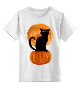 """Детская футболка классическая унисекс """"Halloween"""" - кошка, хэллоуин, луна, тыква, день всех святых"""