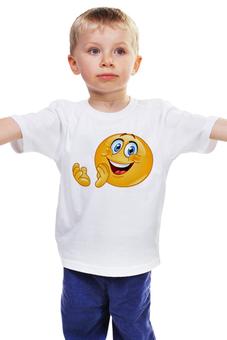 """Детская футболка """"КОЛОБОК УЛЫБАЮЩИЙСЯ. СМЕХ РАДОСТЬ. SMILE"""" - смех, smile, радость, улыбка, колобок"""