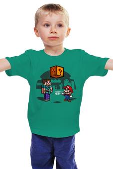 "Детская футболка классическая унисекс ""Майнкрафт & Супер Марио"" - minecraft, майнкрафт, nintendo, видеоигры, super mario bros"
