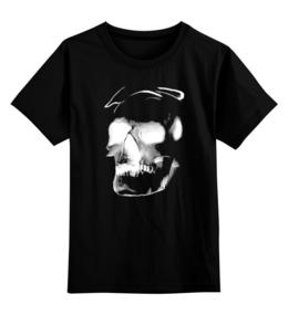 """Детская футболка классическая унисекс """"Сияющий череп"""" - череп, выделись из толпы, свечение, сияние"""
