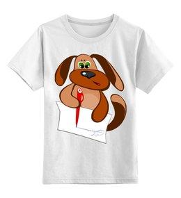 """Детская футболка классическая унисекс """"Пес Захар пишет письмо"""" - пес, письмо, уроки, писать, сочинение"""