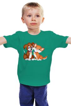 """Детская футболка """"друзья"""" - друзья, животные, котенок, щенок, вместе"""