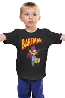 """Детская футболка классическая унисекс """"бартмен"""" - batman, симпсоны, dc, the simpsons, bartman, bart, bart simpson"""