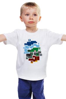 """Детская футболка классическая унисекс """"Minecraft world"""" - minecraft, майнкрафт, creeper, крипер, кубы"""