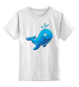 """Детская футболка классическая унисекс """"Большой морской кит с фонтаном """" - кит, рыбка, футболка для мальчика, футболка для девочки"""