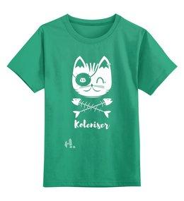 """Детская футболка классическая унисекс """"Cat Pirates"""" - кот, рисунок, print, koleda17, футболкаспринтом"""