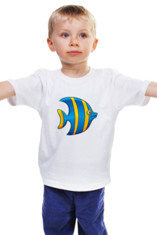 """Детская футболка """"Желто-синяя морская рыбка"""" - рыбка, футболка для мальчика, футболка для девочки"""