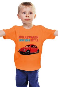 """Детская футболка """"Вольскваген """"Жук"""""""" - арт, рисунок, дизайн, автомобиль, легендарный"""
