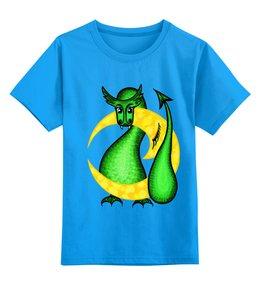 """Детская футболка классическая унисекс """"Китайский гороскоп - год дракона"""" - звезды, небо, год дракона, на луне, китайский гороскоп"""