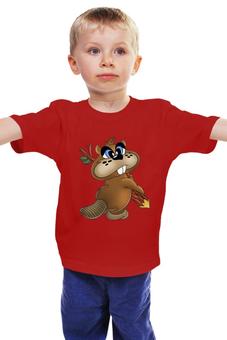 """Детская футболка классическая унисекс """"Бобрёнок """" - карандаш, бобр"""