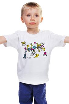 """Детская футболка классическая унисекс """"Зоопарк"""" - животные, мультфильм, самолёт, зоопарк, детский рисунок"""
