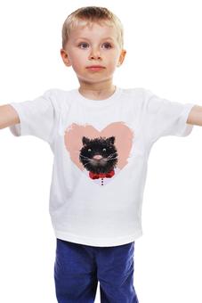"""Детская футболка классическая унисекс """"Портрет кота"""" - кот, сердечко, мордочка, кошки, смешной"""