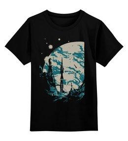 """Детская футболка классическая унисекс """"Конец мира"""" - силуэт, мир, космос, апокалипсис, ракеты"""