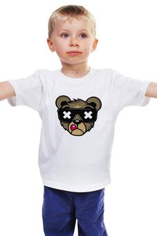 """Детская футболка классическая унисекс """"mr.bear"""" - медведь, мишка, очки, крутой"""