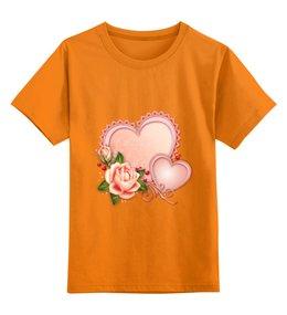 """Детская футболка классическая унисекс """"Сердца"""" - сердце, любовь, роза"""