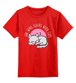 """Детская футболка классическая унисекс """"Спящая кошка"""" - кот, кошка, животные, сон, коты"""