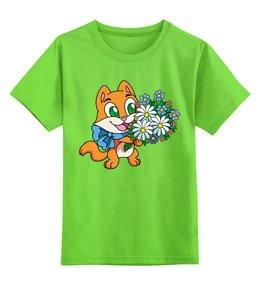 """Детская футболка классическая унисекс """"Зверек с цветами"""" - юмор"""
