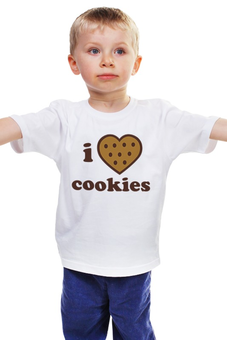 """Детская футболка """"i love cookies"""" - россия, сладости, печенье"""