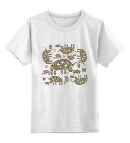 """Детская футболка классическая унисекс """"Очень добрые носороги"""" - арт, бабочки, узор, животные, паттерн, дикие животные, носорог, носороги, добрый носорог, rhino"""