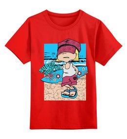 """Детская футболка классическая унисекс """"Super surfing """" - море, мальчик, сёрфинг"""