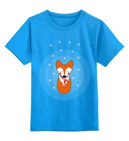 """Детская футболка классическая унисекс """"Лис под звёздами"""" - мило, лис, лиса, звёзды, goroshek"""