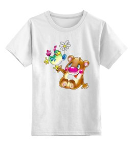 """Детская футболка классическая унисекс """"Медведь с птицей"""" - авторские майки, оригинально, футболка"""