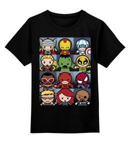 "Детская футболка классическая унисекс ""Супергерои"" - супергерои, железный человек, капитан америка, халк, дэдпул"