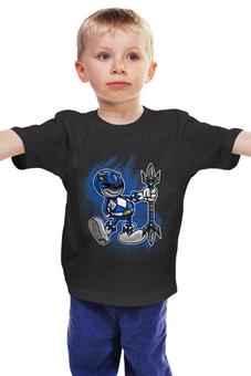 """Детская футболка """"Синий Рейнджер"""" - самурай, могучие рейнджеры, токусацу, синий рейнджер"""