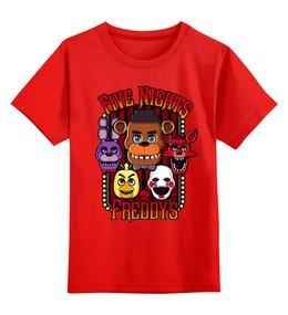 """Детская футболка классическая унисекс """"Пять ночей у Фредди (FNAF)"""" - компьютерные игры, хоррор, пять ночей у фредди, пиццерия"""