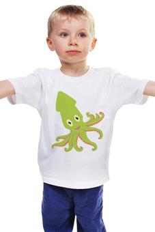 """Детская футболка """"Осминожек"""" - животные, море, осминог"""