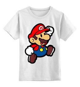 "Детская футболка классическая унисекс ""Марио (Mario)"" - марио, mario bros, nintendo, 90's"