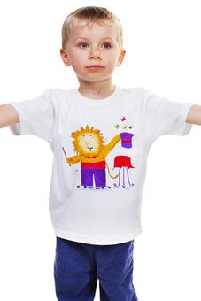 """Детская футболка классическая унисекс """"Лев-фокусник"""" - бабочки, лев, ребенку, чудеса"""