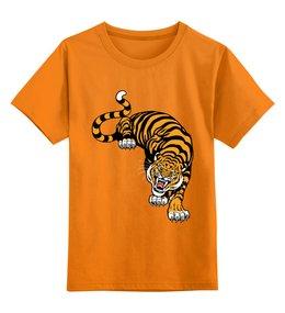 """Детская футболка классическая унисекс """"Свирепый тигр"""" - тигр, животное"""
