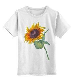 """Детская футболка классическая унисекс """"Подсолнух"""" - лето, цветы, солнце, акварель, подсолнух"""