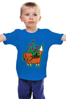 """Детская футболка классическая унисекс """"Лисичка-цветочница"""" - арт, авторские майки, цветы, детские, лиса"""