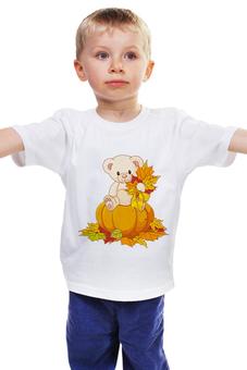 """Детская футболка """"Мишка"""" - хэллоуин, медведь, листья, осень, тыква"""