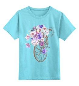 """Детская футболка классическая унисекс """"Велосипед"""" - велосипед, спорт, цветы"""