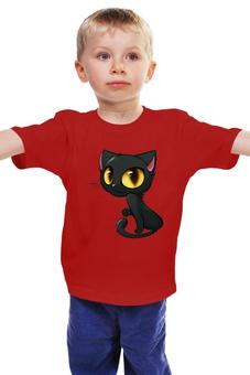 """Детская футболка классическая унисекс """"Котенок"""" - для девочки, милая кошечка"""
