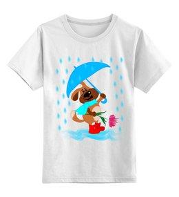 """Детская футболка классическая унисекс """"Пес с зонтом и цветком"""" - праздник, цветок, пес, дождь, зонт"""