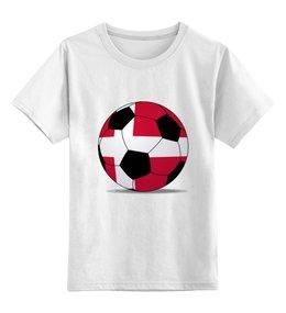"""Детская футболка классическая унисекс """"Футбол Дания"""" - футбол, мяч, дания, футбольный мяч"""