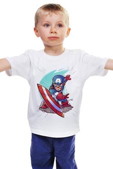 """Детская футболка классическая унисекс """"Капитан Америка"""" - marvel, superhero, капитан америка, captain america, futbolka"""