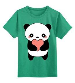 """Детская футболка классическая унисекс """"Панда"""" - мишка, сердце, сердечки, панда, любовь"""