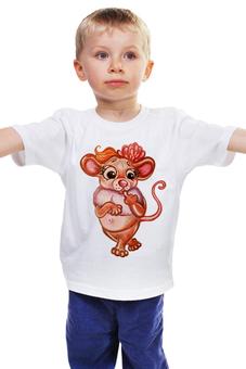 """Детская футболка классическая унисекс """"Задумчивая мышка"""" - мышь, девочке, красотка, мышка, хорошенькая"""
