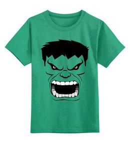 """Детская футболка классическая унисекс """"ЗЕЛЕНЫЙ (Халк)"""" - зеленый, супергерой, качек, халк, здоровяк"""