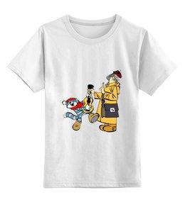 """Детская футболка классическая унисекс """"Простоквашино"""" - мультяшки, рисунок, простоквашено, матроскин, печкин"""