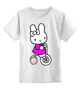 "Детская футболка классическая унисекс ""кошка. НА ВЕДОСИПЕДЕ.HELLO KITTY.ЛЮБИМЫЙ ГЕРОЙ "" - кошка, kitty, мултфильм, велосипед"