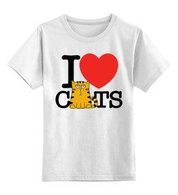 """Детская футболка классическая унисекс """"Я люблю котиков"""" - сердце, любовь, кот, кошка, котик"""